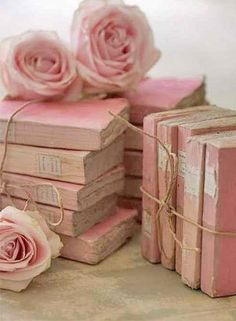 Antique French Books and they are PINK. Does anyone have pink vintage books, I will purchase them. - Sincerely, JoAnne Biddy Craft pinned with Bazaart Pretty In Pink, Pink Love, Pretty Roses, Fuchsia, Blush Pink, Pastel Pink, Decoration Shabby, Flower Decoration, My Favorite Color