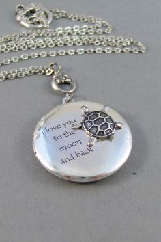 Turtle Love,Locket,Silver Locket,Turtle,Turtle Locket,Antique Locket,Antique,Woodland,Love You. Handmade jewelry by valleygirldesigns. on Etsy, $32.00