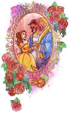 Beauty and the Beast- Belle and the Beast Classic Disney Movies, Film Disney, Disney Fan Art, Disney Love, Beauty And The Beast Wallpaper, Beauty And The Beast Art, Julia Faria, Belle Tattoo, Belle And Beast