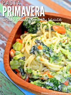 Trick your #kids into eating their #veggies with this #pasta #primavera with a #creamy, #healthy #cauliflower #sauce! It looks devilishly #tasty (: #recipe