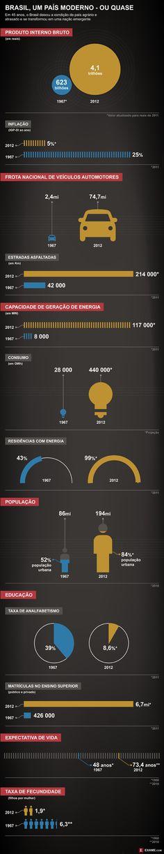 Os avanços do Brasil em 45 anos. Via Exame.com http://exame.abril.com.br/revista-exame/edicoes/1030/noticias/os-avancos-do-brasil-em-45-anos