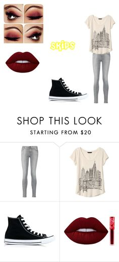 """Skips 4"" by shadow-killer-101 on Polyvore featuring 7 For All Mankind, Banana Republic, Converse and Lime Crime"