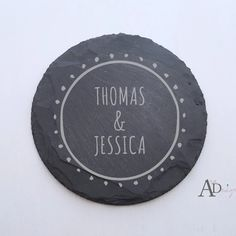 Your coaster set will be engraved with graphics seen in the first image. Round cork coaster: diameter x thick Personalized Couple Gifts, Personalized Housewarming Gifts, Personalized Coasters, Custom Coasters, Slate Coasters, Cork Coasters, Coaster Design, Coaster Set, Love Design