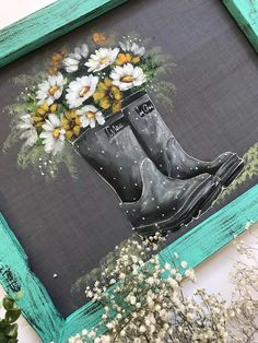 Lets enjoy the little things, gray rain boots!- Lets enjoy the little things, gray rain boots! Autumn Painting, Tole Painting, Painted Window Art, Painted Screens, Painted Slate, Chalkboard Art, Paint Party, Learn To Paint, Painting Inspiration