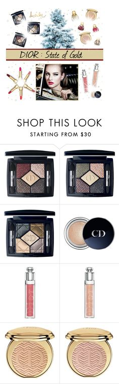 """""""Christmas Beauty 2015  : Dior, State Of Gold"""" by vampirella24 ❤ liked on Polyvore featuring beauty, Christian Dior, Beauty, Dior, makeup, festive and Christmas2015"""