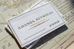 Letterpress business card (front). Designed by Sarah Rusin & printed by Bon à Tirer for travel photographer Amanda Reynolds. (via oh beautiful paper) [name, title, email, phone]