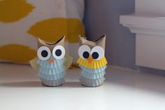 Owl craft made from toilet paper roll, cupcake liners