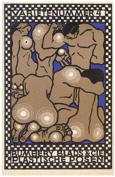 ¤ Moriz Jung, postcard 82. Wiener Werkstatte. Varietenummer 4. Bumbery blads & Cie. Plastische Posen.