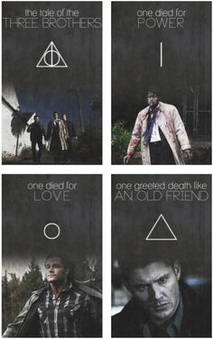 This is amazing!! The tale of the Deathly Hallows crossed with Supernatural - #Harry #Potter (via tumblr)