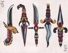 Resultado de imagen de traditional tattoo dagger