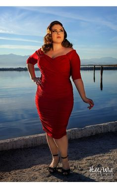 Pinup Girl Clothing- Monica Dress in Red Matte Jersey Knit - Plus Size Plus Size Dresses, Plus Size Outfits, Pinup Girl Clothing, Pin Up Outfits, Funny Fashion, Vintage Inspired Outfits, Wiggle Dress, Alternative Outfits, Mode Style