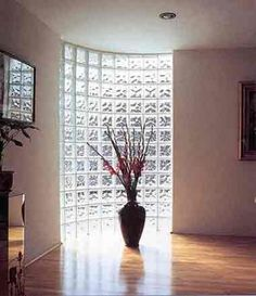 Curved glass brick dividing wall in loft. This but would be a convex curve Glass Blocks Wall, Block Wall, Wall Of Glass, Wall Design, House Design, Glass Brick, Curved Glass, New Mexico Homes, Partition Design