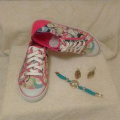 "COACH Barrett Sneakers Size 8 1/2 NWOT unworn. Does not come with box. Pink and multi colored ""C""s. Coach Shoes Sneakers"