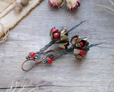 Earrings copper, wire,  bouquet of flowers, natural stone, boho, spring Earrings, summer jewelry, I will give them red Zori   art. 1003 by AlevtinaMalysh on Etsy