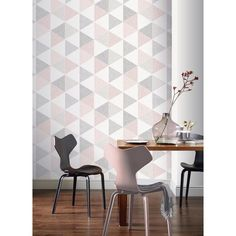 Scandi Geo Triangle Wallpaper Pink and Grey Feature Wall Arthouse 908204 Geometric Feature Wallpaper, Orange Wallpaper, Wallpaper Panels, Paper Wallpaper, Wallpaper Roll, Bedroom Wallpaper, Trendy Wallpaper, Perfect Wallpaper, Grey Feature Wall