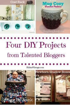 My Favorite DIY Projects ~ Part 11! Coat Shelf, Crochet Mug Cozy, Newborn Shadow Boxes, & Stroller Snuggle Sack
