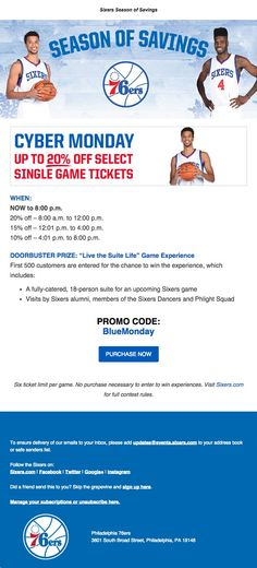 "Philadelphia 76ers - Cyber Monday - up to 20% off select single game tickets and enter to win ""Live the Suite Life"" game experience"