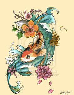 A koi fish tattoo design done for Sarah Jeffers. Please do not use this as your own tattoo flash or copy elements from it. Koi Tattoo Design, Arabic Tattoo Design, Tattoo Designs, Japanese Demon Tattoo, Tattoo Japanese Style, Japanese Sleeve Tattoos, Koi Tattoo Sleeve, Japanese Koi Fish Tattoo, Geisha Tattoos