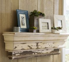 *Great Inspiration for salvaged timber & fireplace mantels*  Decorative Ledge          To create our ledge's salvaged look, craftsmen first stain the wood brown, then layer white paint on top. The surface is chipped and sanded to reveal hints of the contrasting undercoat.