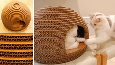 This DIY cardboard cat house is so cute ! Cardboard Cat House, Cardboard Crafts, Cat Habitat, Cat Room, Pet Furniture, Animal Projects, Cat Crafts, Pet Beds, Diy Stuffed Animals
