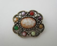Vintage Celtic Brooch Pin Multi-Coloured Agate Glass Scottish Silver Tone Metal