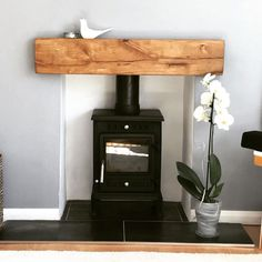 Lightly Worked Oak Fireplace Beam with Pure Oil - Wood Burner Fireplace, Oak Mantle, Wooden Mantle, Small Fireplace, Fireplace Mantle, Fireplace Surrounds, Wooden Fireplace Surround, Fireplace Tiles, Cottage Fireplace