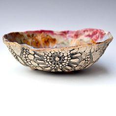 hand built stoneware lace bowl