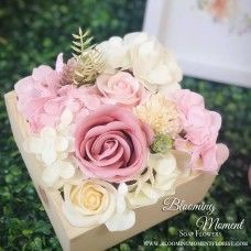 Light Pink Soap Flower Wooden Square Box Soap, Flowers, Plants, Pink, Home Decor, Decoration Home, Room Decor, Florals, Hot Pink