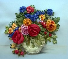 Colourful roses in a basket #ribbonEmbroidery