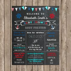 Custom Chalkboard Nautical Baby Shower Sign