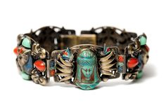 Rare Vintage Art Deco Max Neiger Egyptian Revival Pharaoh Bracelet #NeigerBrothers #Panel