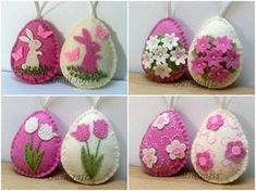 Felt Easter decoration - felt egg with bunny and butterflies or flowers/ set of 2 or 8 Listing is for set of 2 or 8 ornaments ( different options ) Size of my decorated eggs is about 2 1/8 x 2 5/8 inch (5,3 x 6,5 cm) This is size of felt egg without hanging loop Handmade from wool blend
