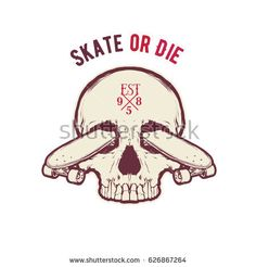 Vintage vector illustration - Skateboarding t-shirt design with the skull Skate Art, Illustration, Skateboarding, Vintage, Shirt Designs, Skull, Vectors, Pictures, Projects