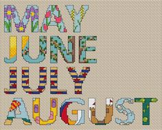 Cross Stitch the Months of the Year! Use these free cross stitch patterns to make a calendar or gift. Find many free craft projects and patterns at Craftown.