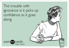 The trouble with ignorance is it picks up confidence as it goes along.