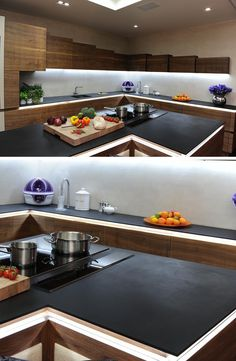 Kitchen Design Idea - 5 Unconventional Materials You Can Use For A Countertop // Paper Stone -- Made from stacks of recycled paper, resin, and natural pigment, paper stone is a non-porous countertop material. It's sustainable, stain resistant, heat resistant and doesn't absorb water.