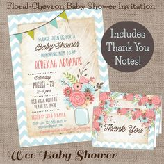 Baby Shower Invitation and Thank You Notes by WeeBabyShower
