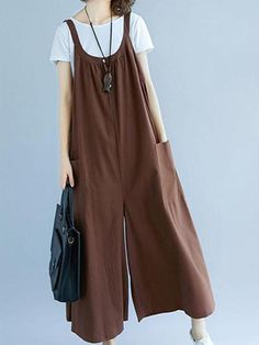 Korea Style Loose Coffee Cotton Linen Wide-led Overalls For Women - Kleidung Korea Fashion, Boho Fashion, Fashion Dresses, Hippie Outfits, Jumpsuit Outfit, Pant Jumpsuit, Harem Pants, Tie Dye Outfits, Hippie Costume