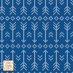 "White Stitched Arrow on Blue Cotton Jersey Blend Knit Fabric - New from the Girl Charlee Modern Air Collection!!  Cross stitched arrows and diamonds in white on our Classic Blue color background signature cotton blend jersey knit.  Fabric is very soft, 7.5 - 8 ounce light to mid weight, and has a nice stretch making is suitable for all applications.  Arrows measure 3 1/2"".  Made in Los Angeles!     ::  $6.60"