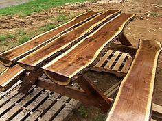 A beautiful live edge log (slab) picnic table. Combination dimension lumber and log slabs.