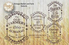 Vintage Farm Signs, Cutting Files, SVG/DXF/EPS/PNG/JPEG By Sparkal Designs