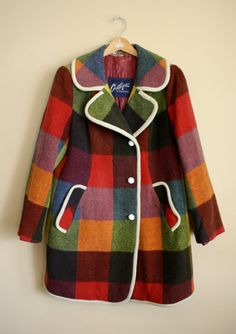 Vintage 1970s PLAID Colorful Coat  Super Mod With White Trim And Buttons