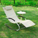 SoBuy OGS28-MI Fauteuil à bascule Chaise longue Transat de jardin avec repose-pieds Bain de soleil Rocking Chair Crème