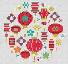 Oriental Lanterns - Fun and Bright Original Modern Cross Stitch Kit Tiny Cross Stitch, Cross Stitch Needles, Modern Cross Stitch, Cross Stitch Kits, Cross Stitch Designs, Cross Stitch Patterns, Motifs Perler, Perler Patterns, Oriental
