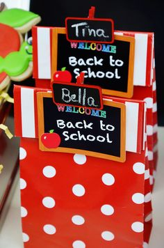 Back to school party favor bags #backtoschool #partyfavors