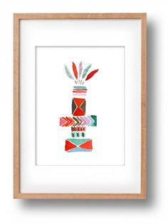 Totem 1Tirbal inspired Art print watercolor by TheJoyofColor
