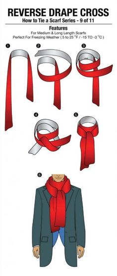 How to Tie A Scarf Series - 9 of 11 : Reverse Drape Cross Via www.ditokadum.com. #art #design #graphicdesign #trendspotting