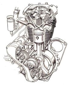 Manuals , Services sheets and anything that has made my bikes run a little better and life a whole lot easier, it's all here. If anyone feels that I'm violating any copyrights or steppi… Motor Tattoo, Motorcycle Posters, Motorcycle Art, Ink Pen Drawings, Car Drawings, Gear Tattoo, Harley Davidson Engines, Engine Tattoo, Motorbike Parts