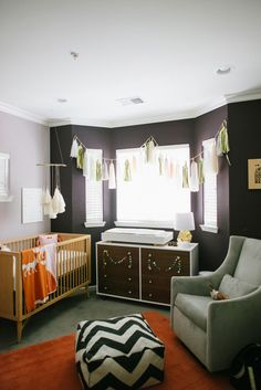 Orange and gray. Like some of these elements. Not sure about the crib and dresser choice though.