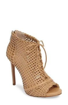 rendy latticework peep toe bootie by Jessica Simpson. Intricate latticework adds dramatic texture to a corset-laced bootie on a towering stiletto. Nude Boots, Peep Toe Ankle Boots, Lace Up Ankle Boots, Lace Booties, Bootie Boots, Leather Booties, Hot Shoes, Dress Sandals, Fashion Shoes